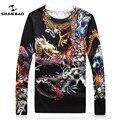 ШАН БАО одежда бренд свитера для мужчин высокое качество популярный Китайский стиль дракон рисунок печати шею свитер осень