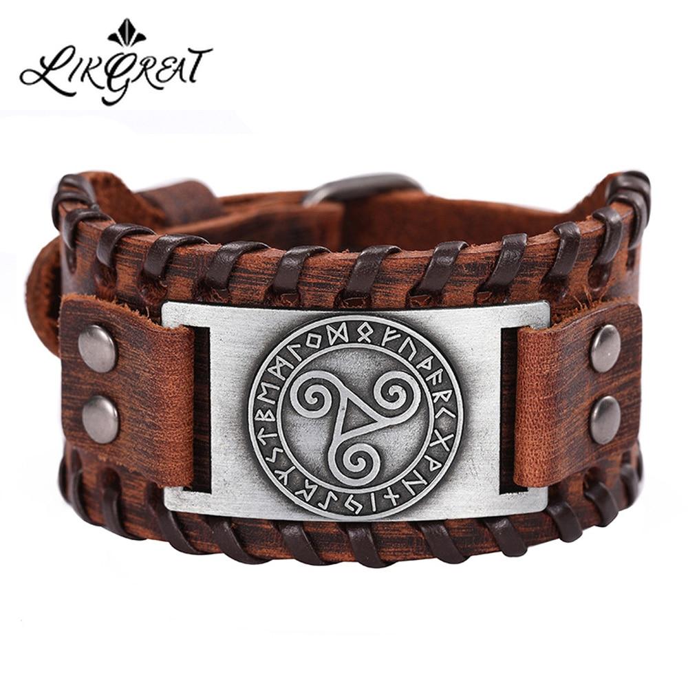 LIKGREAT Genuine Leather Bracelets Vintage Celtics Symbol Triskel Wicca Runes Amulet Wrist Jewelry Men Bracelet Accessories Gift