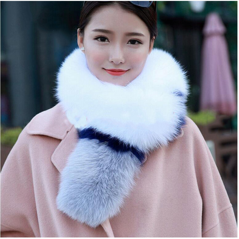Real Fox Fur Scarf  Winter Warm Natural Solid Fox Fur Collar Long Fashion Natural Fur Scarves Hat Design Size Scarf Collar S#16 5 colors 2017 new long fur coat parka winter jacket women corduroy big real raccoon fur collar warm natural fox fur liner