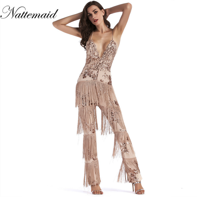 NATTEMAID new Sexy sleeveless deep V-NECK halter lace tassel jumpsuit Sleeveless sequin Overalls Tassels Backless Rompers
