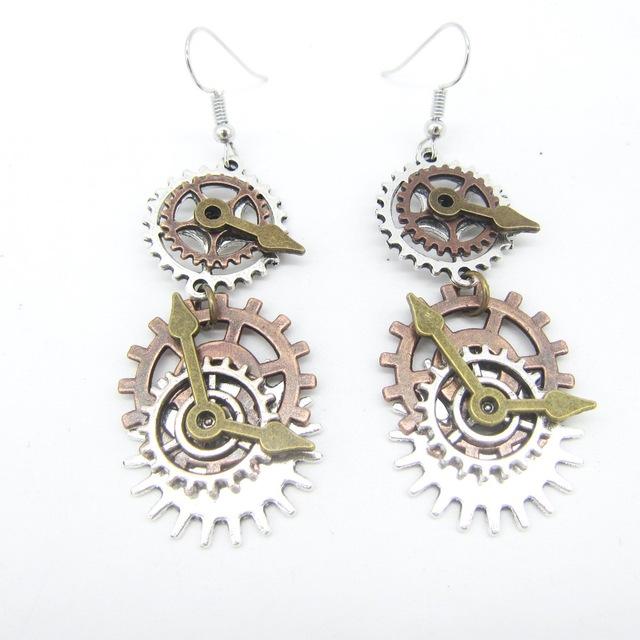 Creative Long Gear Wheels Shaped Metal Steampunk Earrings