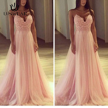 U-SWEAR Evening Dress 2019 Sexy V-Neck Sleeveless Applique Party Prom Formal Gowns Long Dresses Vestidos Robe De Soiree