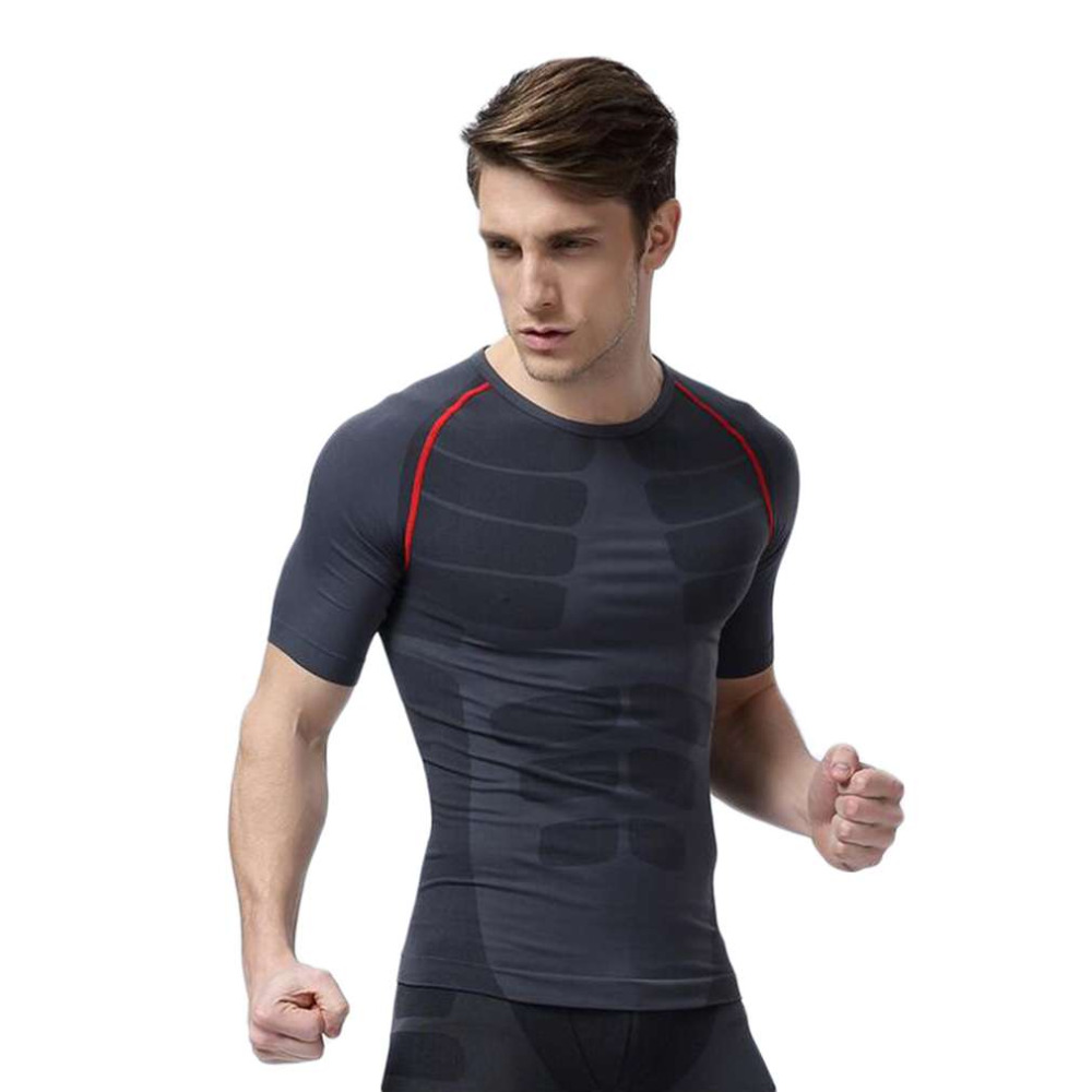 M-XL Size Men Fitness Compression Short Sleeve O-Neck Tight T Shirts Fast Drying Base Layer Tops