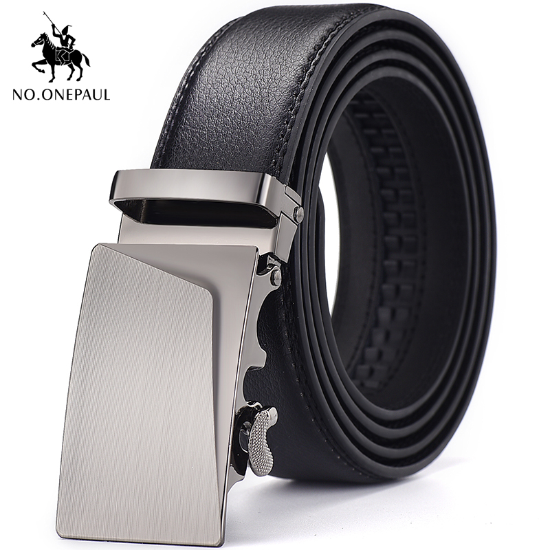 NO.ONEPAUL Men's Automatic Buckling Of True Leather Luxury Belt Fashion New Men's Belt Brand Young And Middle-aged Black Belt