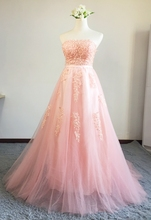 Lace Strapless Appliques Prom Dress NA01