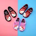 Melissa новая мини-обувь для девочек  сандалии с котенком и Минни  прозрачные сандалии  детская обувь  обувь с открытым носком Красного  черного ...