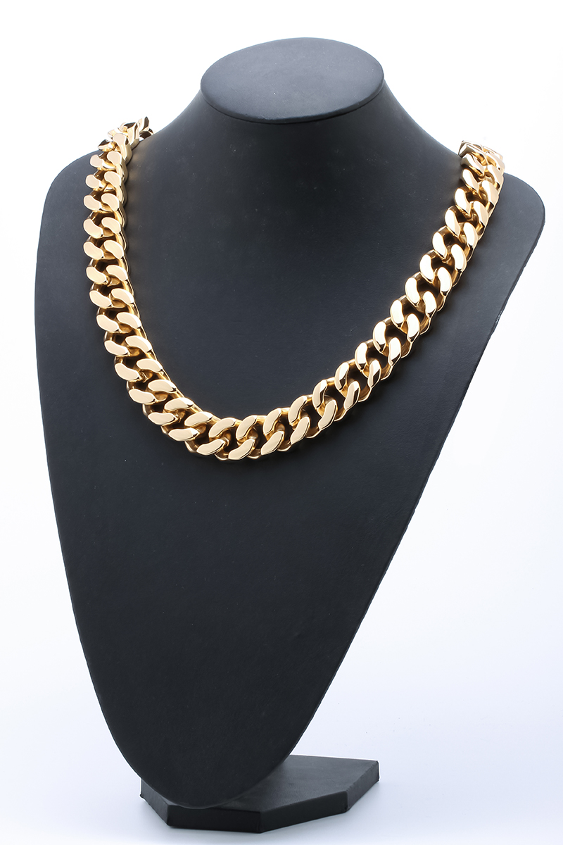 Hommes en acier inoxydable lourd collier ton or biker chaîne bijoux cadeaux pour papa lui petit ami KN04 vente en gros livraison directe 70 cm
