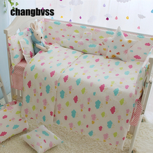7PCS colorful clouds pattern baby bedding bumper crib liner cotton crib bumper baby cot bedding sets baby bed protector