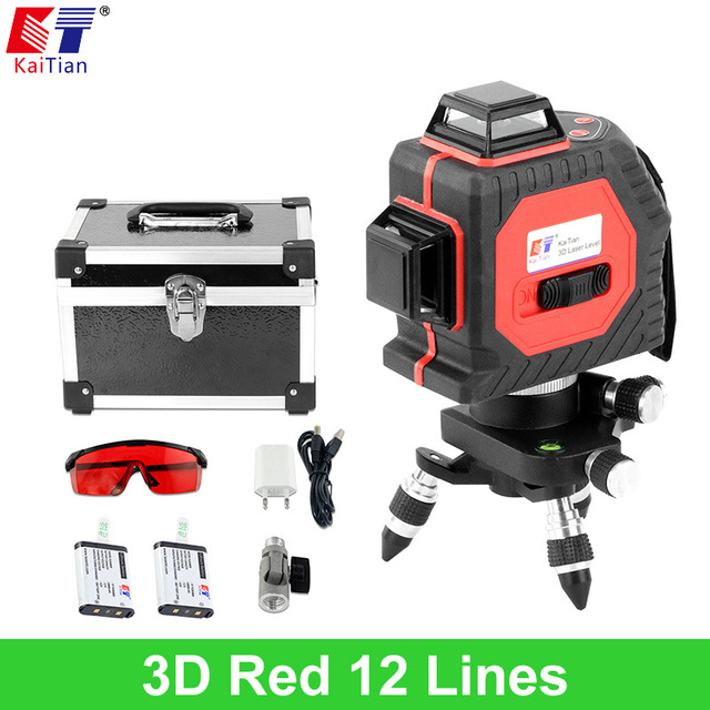 KaiTian Laser Level 12 Line Battery with Slash Function 360 Rotary Self Leveling Outdoor 650nm EU Vertical & Horizontal Lasers