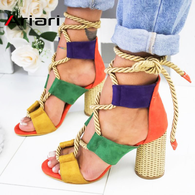 Ariari Women Sandals 2019 Lace Up Summer Shoes Pointed Fish Mouth Heels Shoes For Gladiator Sandals Pumps Hemp Rope High Heels big toe sandal