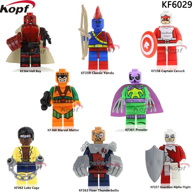 Single Sale KF6029 Super Heroes Guardian Alpha Flight Classic Yondu Prowler Captain Canuck Luke Cage Building Blocks Kids Toys