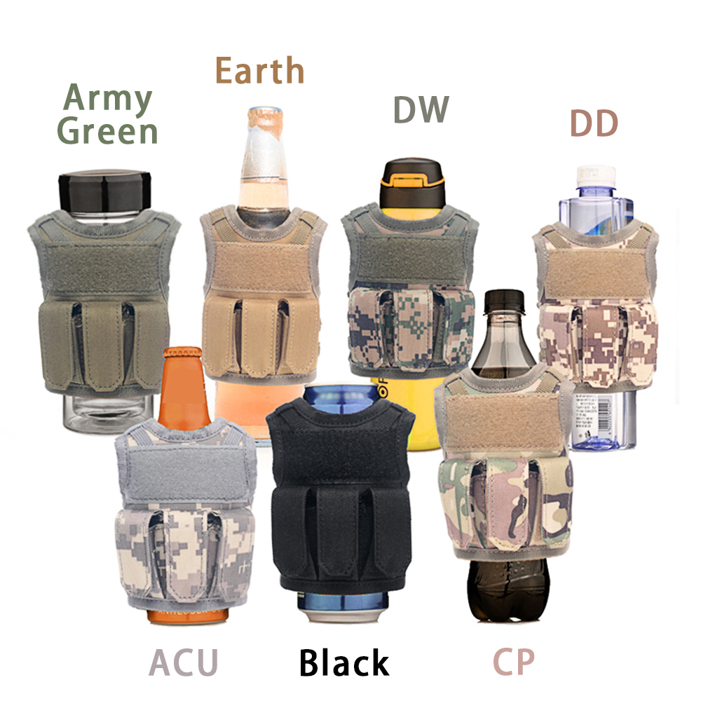 Beer Can Cover Drinks Bottle Holder Outdoor Tool Storage Vest Bag Desert D