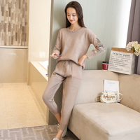 korean fashion women long sleeve embroidery beading needle knitwear trousers big size with thick sweater pants suits casual set