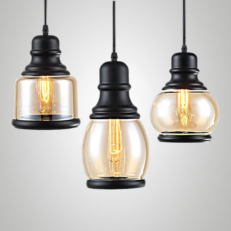 ФОТО Loft  Cystal Glass Black Iron Light Ceiling Lamp Cafe Dining Bar Hotel Club Coffee Shop Bedside