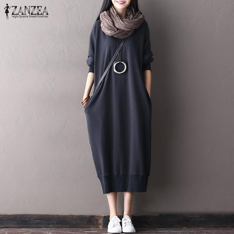 Top Fashion ZANZEA Autumn Women Solid O Neck Long Sleeve Casual Pockets Pullover Vestido Elegant Long Sweatshirt Dress Plus Size