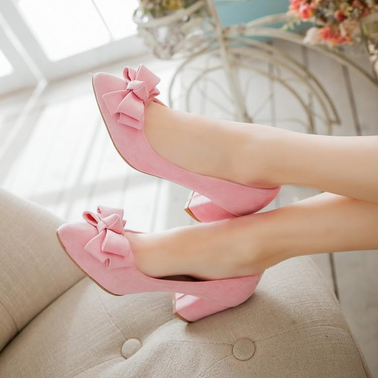 Spring 6CM Medium Heel Pointed Toe Bow Purple Shoe Pink Bow Female Shoe