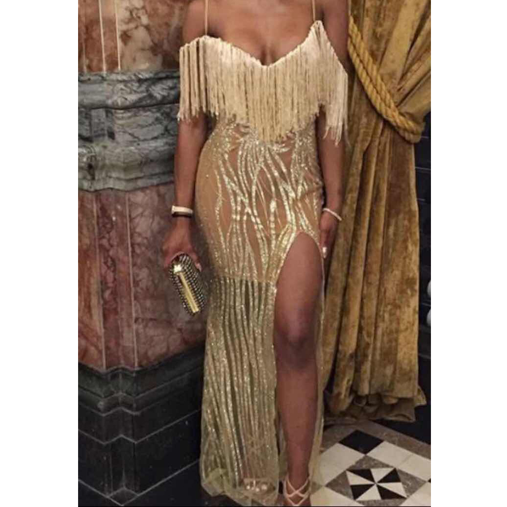 Sexy Sleeveless Off The Shoulder Tassel Glittered Dress Low Cut Split Leg Maxi Dress Hollow Out Party Gown Dress