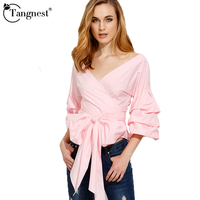 TANGNEST Women Bow Shirts V Neck Spring Summer 2017 New Fashion Casual Style Solid Color Women
