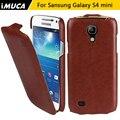 Imuca marca la caja de cuero para samsung galaxy s4 s 4 mini cubierta del tirón vertical para samsung galaxy s4 teléfono i9190 caso