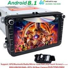 Android 8,1 8 «2din автомобильный DVD для VW POLO Golf 5 6 POLO PASSAT B6 CC Jetta Tiguan блок EOS SHARAN SCIROCCO CADDY с 4 ggps Navi