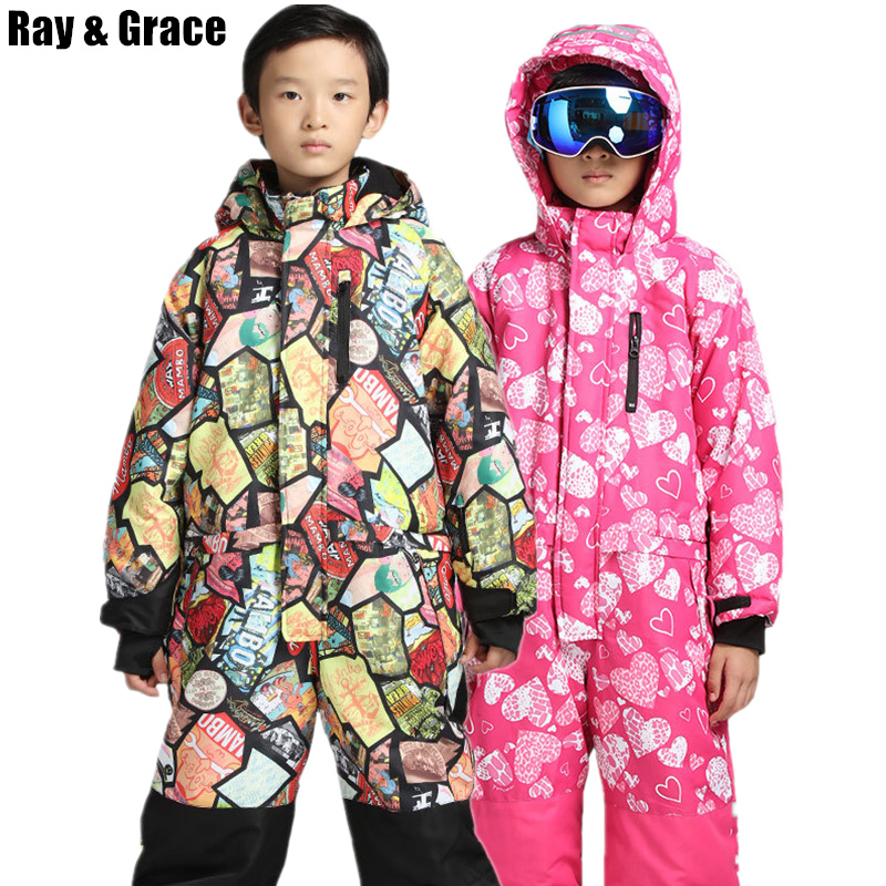 RAY GRACE Boys Girls Print One Piece Snow Suit Ski Suit Skiing Snowboard Sports Clothing For Kids Waterproof Windproof Outerwear