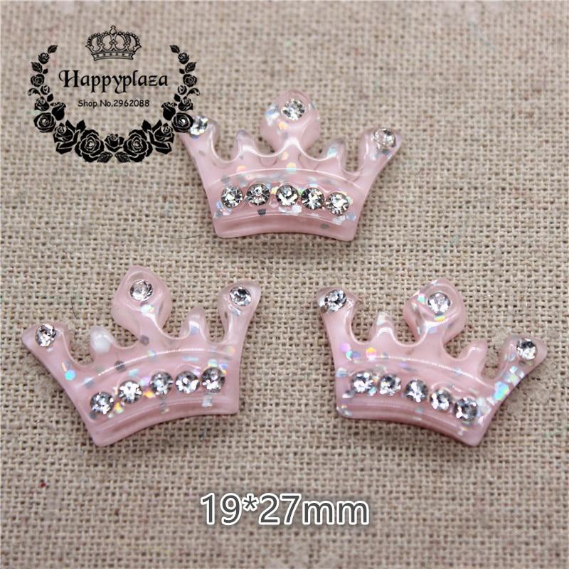 10pcs Kawaii Light Pink Resin Crown Shiny Crystal Rhinestone Flatback Cabochon Charm DIY Hair Bow Center Decoration,19*27mm