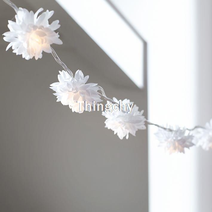 Novelty 2M 20LED Chrysanthemum String Fairy Lights for dorm room soft lighting fabric flower lights home decor party Garland