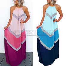 цены Summer Dresses Casual Fashion Elegant Dress Women's Halter Striped Color Patchwork Pleated Back Hollow Out Maxi Long Dress