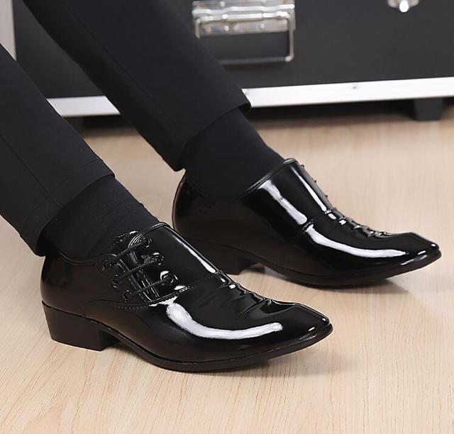 New Fashion Men Office Shoes Bright Patent Leather Men Dress Shoes