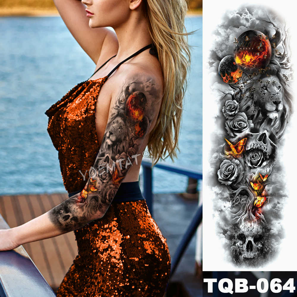 Detail Feedback Questions about Large Arm Sleeve Tattoo Flame Planet ...
