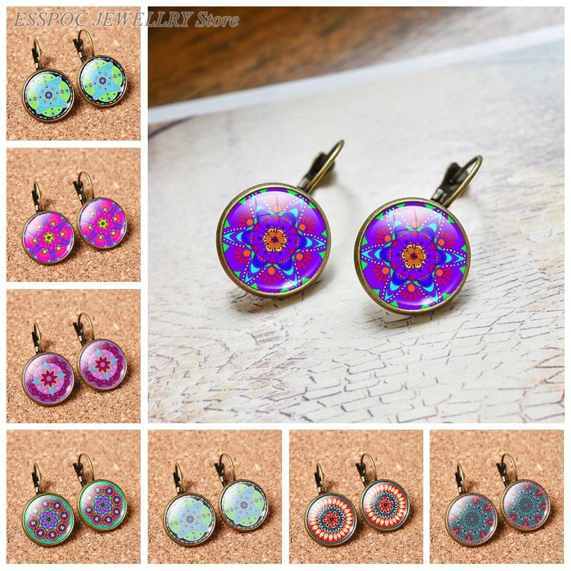 Fashion France Earring Datura Flowers Stud Earrings Round 16 MM Glass Cabochon Jewelry Bronze Delicate Ear Hook Women Lover Gift