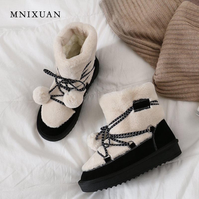 MNIXUAN Snow boots warm wool blend winter women shoes ankle boots 2018 new leather female non slip platform with fur short boots czrbt plus size women snow boots warm wool blend ankle boots winter women shoes side zipper flat heel boots fashion short boots