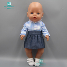 Clothes for dolls fits 43 cm Baby Born zapf doll Striped shirt denim skirt