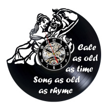 Beauty and Beast Belle Cartoon Vinyl LED Record Design Wall Clock – – Best gift for him and her, girlfriend or boyfriend