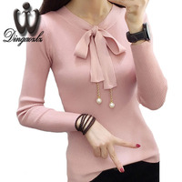 Dingaozlz Winter Clothes New Korean Slim Sweater Shirt Fashion Long Sleve Women Tops Bow Stitching Pullover