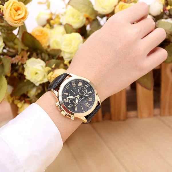 2016 אופנה מותג ז 'נבה שעונים נשים גברים מקרית רומי ספרה שעון לגברים נשים עור מפוצל קוורץ שעון יד Relogio שעון