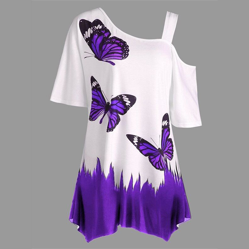 2018 Fashion Women Plus Size One Shoulder T-shirt Butterfly Pattern Tee Tops Short Sleeve