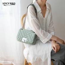 VENOF Korean version split leather shoulder bag for woman fashion ladies chain flap luxury exquisite female crossbody bags 2019 недорого