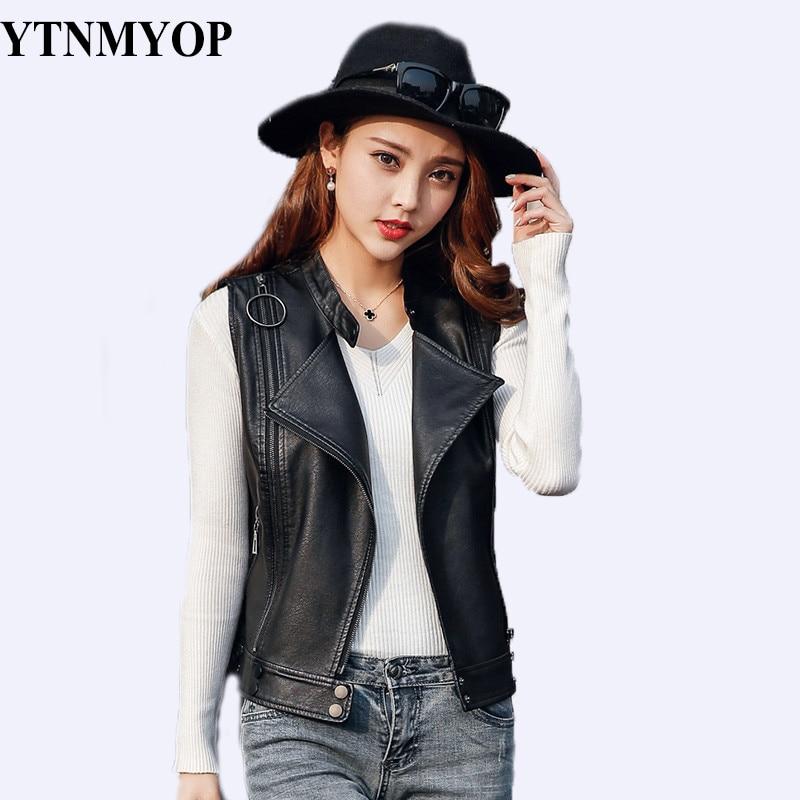 YTNMYOP 2019 printemps veste en cuir sans manches femmes noir Biker en cuir gilet court mince mode Zipper hauts vêtements S-XXL