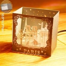 1 ud. Tarjetas postales de París con vista nocturna de ciudad famosa 3D Pop Up tarjetas de felicitación Vintage hechas a mano papel para rascar 10,5*10,5*7 cm
