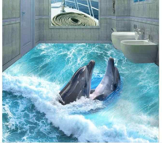 Papier peint photo personnalisé 3d revêtement de sol mural pvc papier peint dauphins 3 d sous-marin monde salle de bains peinture au sol papier peint décor