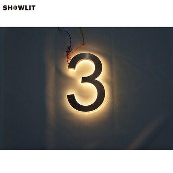 Brass Faces Acrylic Backs LED Backlit House Numbers