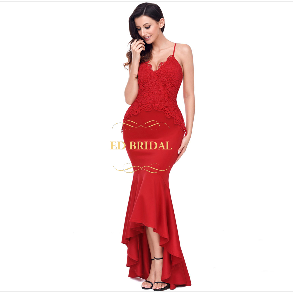Spaghetti Straps Lace Stretchable Jersey Cheap Mermaid High Low Prom ...