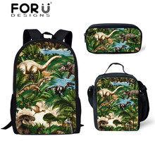 FORUDESIGNS Dino Backpack for School Kids Cartoon Tyrannosau