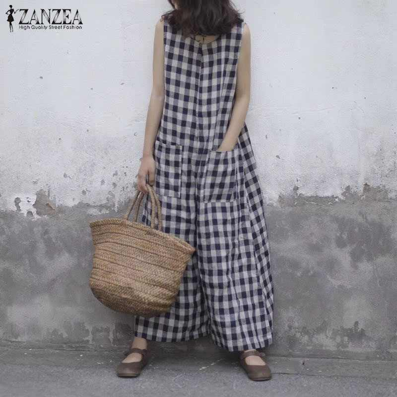 ef6543d9d11f 2018 Summer ZANZEA Women Plaid Checked Sleeveless Wide Leg Pants Jumpsuits  Vintage Loose Casual Baggy Rompers