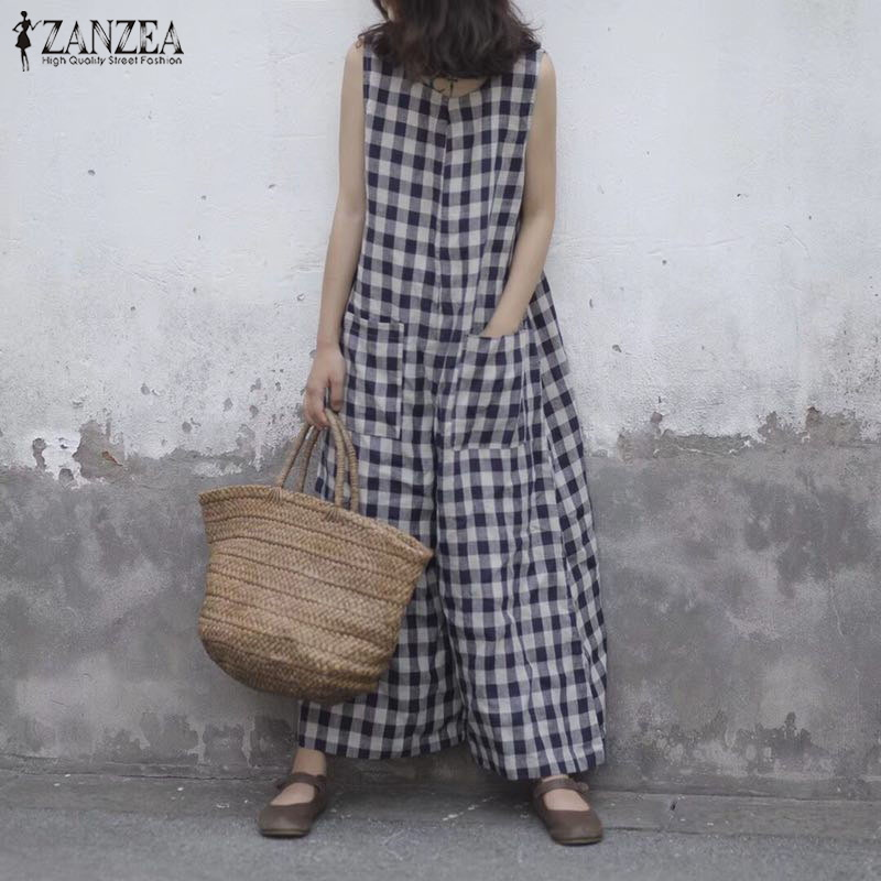 2019 Summer ZANZEA Women Plaid Checked Sleeveless Wide Leg Pants   Jumpsuits   Vintage Loose Casual Baggy Rompers Overalls Plus Size