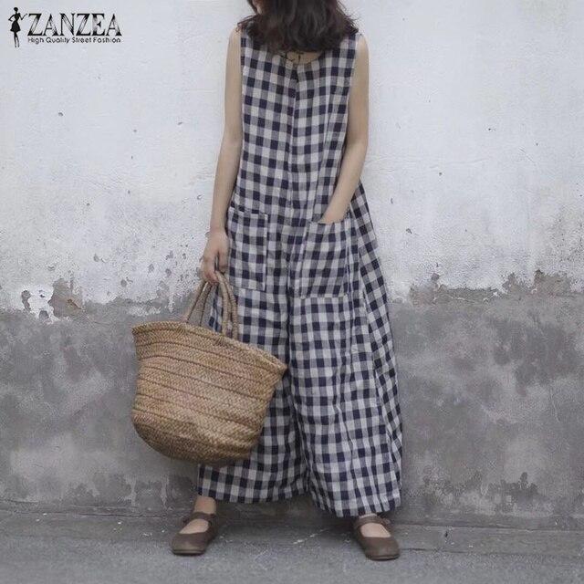 2019 verano ZANZEA Mujer a cuadros sin mangas pantalones de pierna ancha monos Vintage holgado Casual Baggy monos talla grande