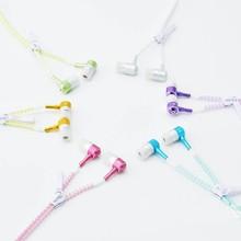 6 Color Glow Headphones Light Metal Zipper Earphones Glow In The Dark Earphone Headset For IPhone