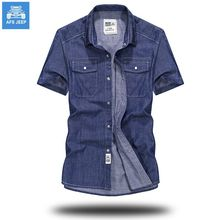 XIANHE/AFS jeep summer time Denim Shirts Males Informal quick Sleeve Vogue Match Camisa Denims Masculina Denim Shirts 3XL US Euopean Model