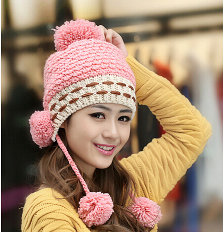 BomHCS Cute Winter Warm Wool Handmade Knit Hat Women Lady Ear Muff Three Balls Knitted Hat Fashion Cap Beanie bomhcs korean cute autumn winter warm color mosaic knitted hat ear muff 100% handmade women beanie cap